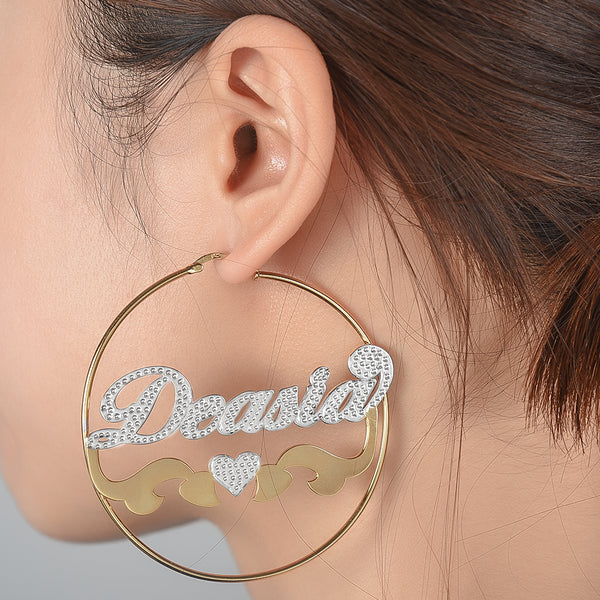 Two Tone Gold Plated Personalized Hoop Name Earrings with Heart