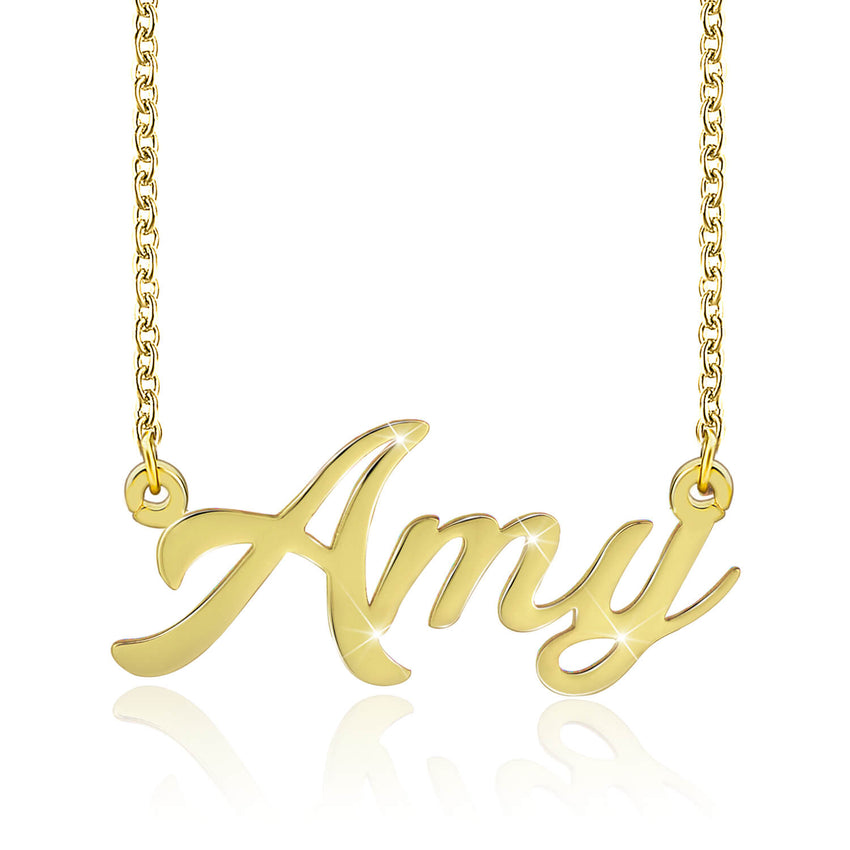 18K Gold Pendant Custom Made Necklace with Name - Silviax