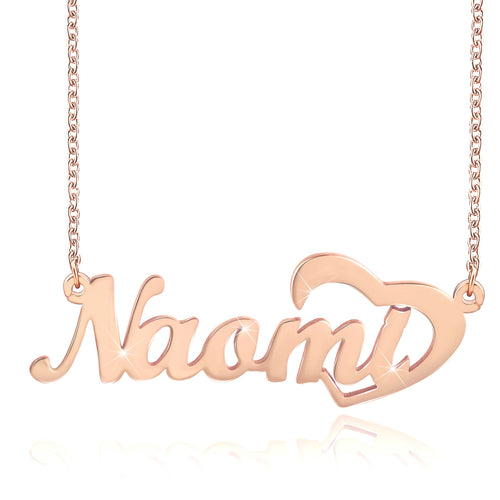 Symbol Any Initial Nick name Necklace With Heart Silver