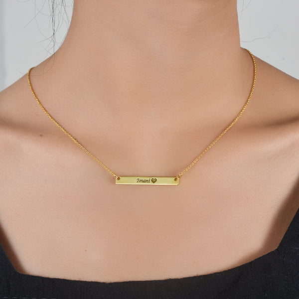 Gold Plated Personalized Engravable Bar Necklace