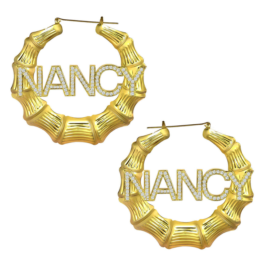 18K Gold Plated Personalized Bamboo Hoop Crystal Name Earrings