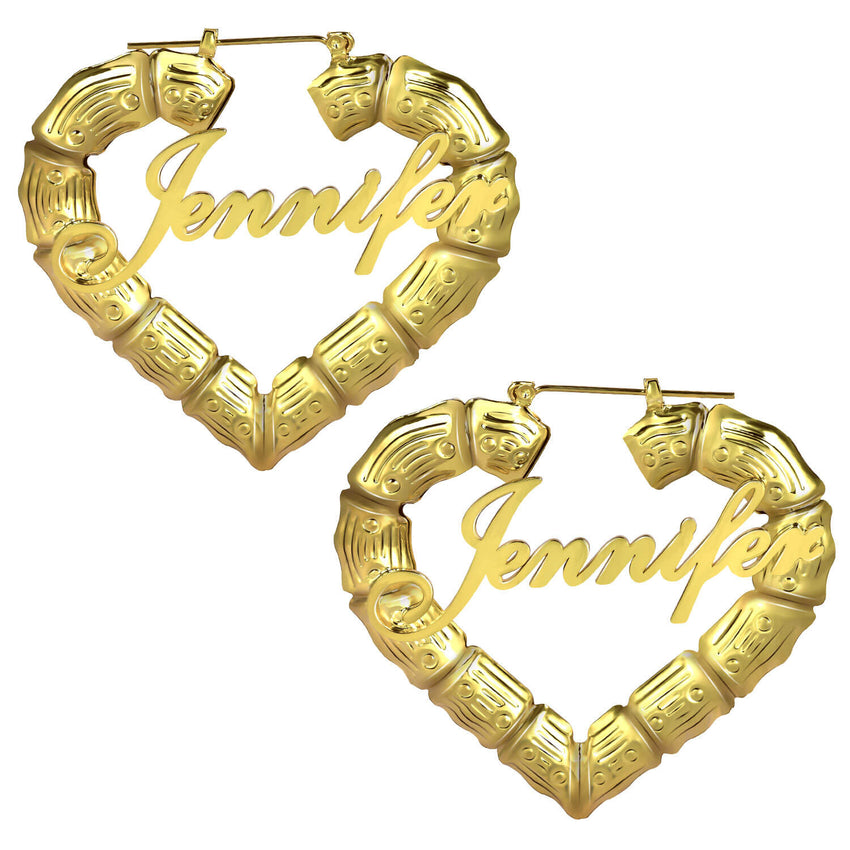 18K Gold Plated Personalized Heart Bamboo Name Earrings