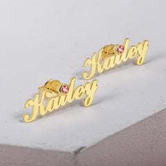 Gold Plated Personalized Name Earring With Birthstone