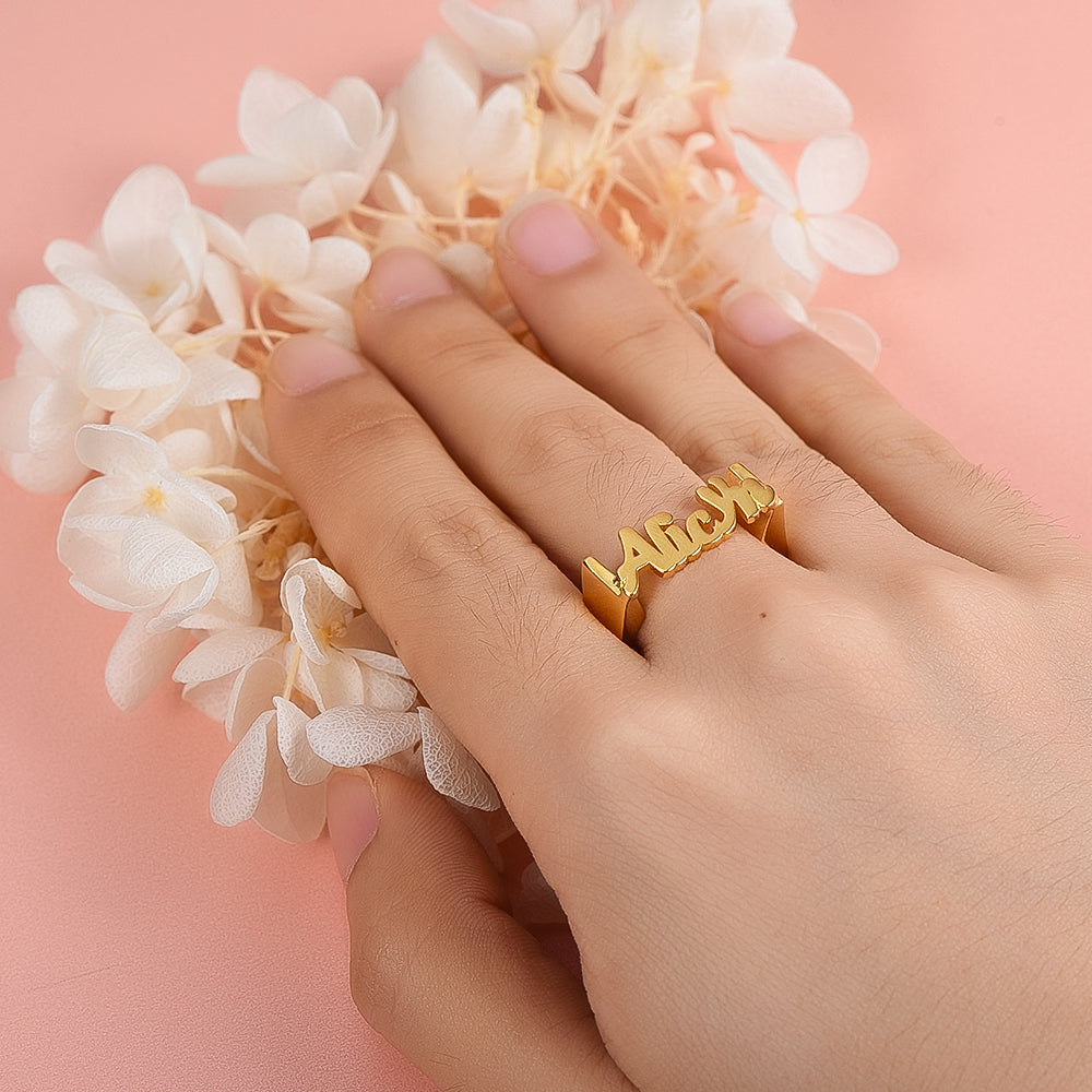 Gold Plated Personalized Classic Font Name Ring