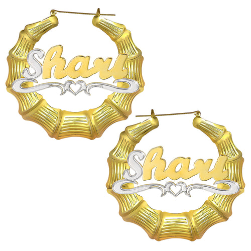 18K Gold Plated Personalized Two Tone Hoop Bamboo Name Earring with Heart