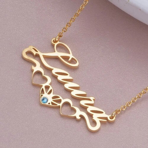 18K Gold Plated Personalized Heart-Shaped Birthstone Name Necklace
