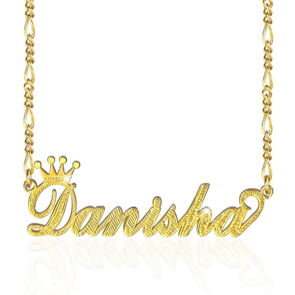 18K Gold Plated Crown Personalized Name Necklace