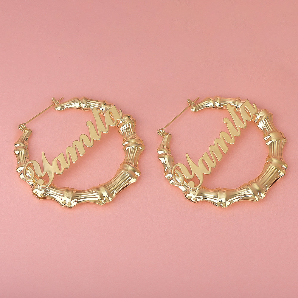Gold Plated Personalized Custom Bamboo Hoop Name Earrings
