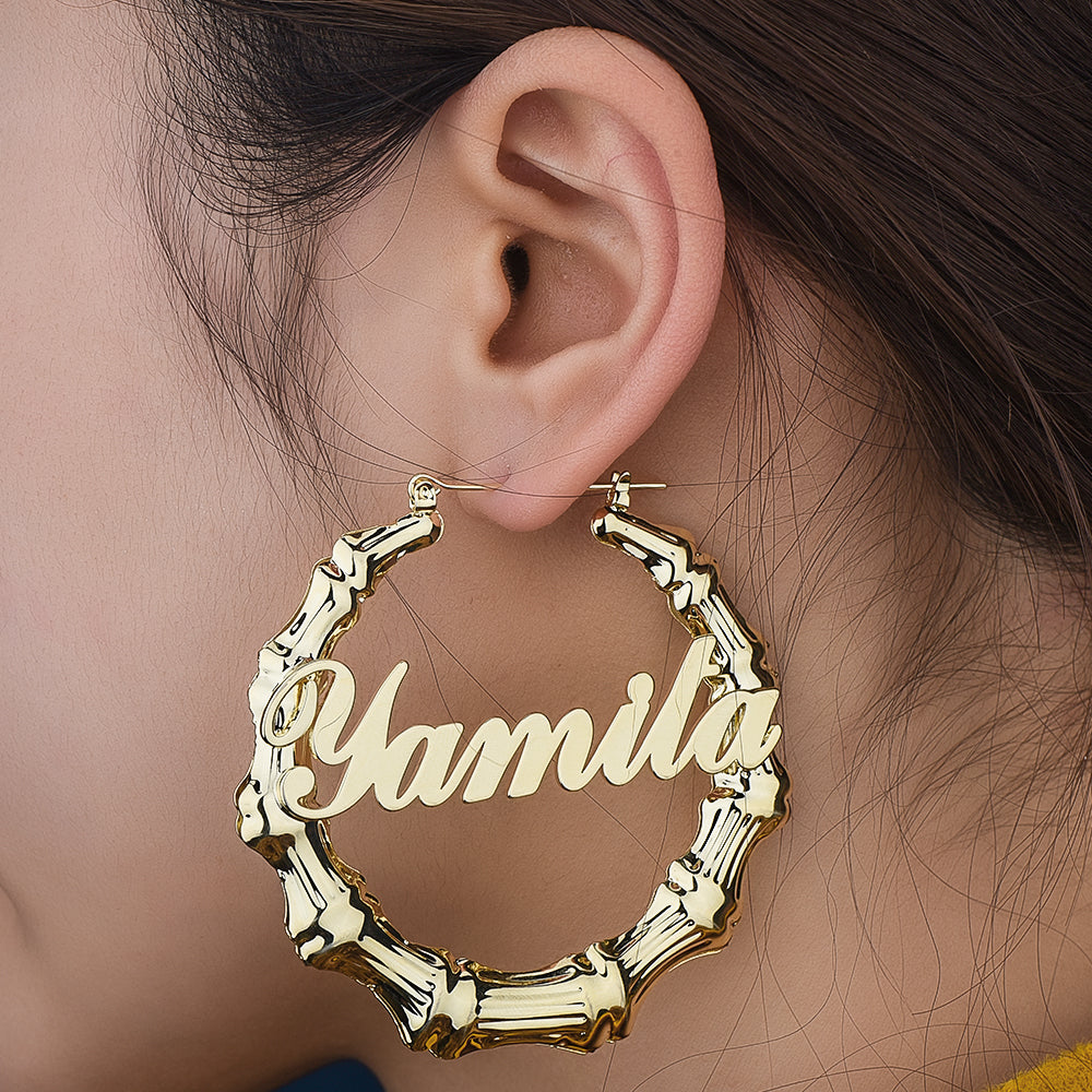 18K Gold Plated Personalized Custom Bamboo Hoop Name Earrings