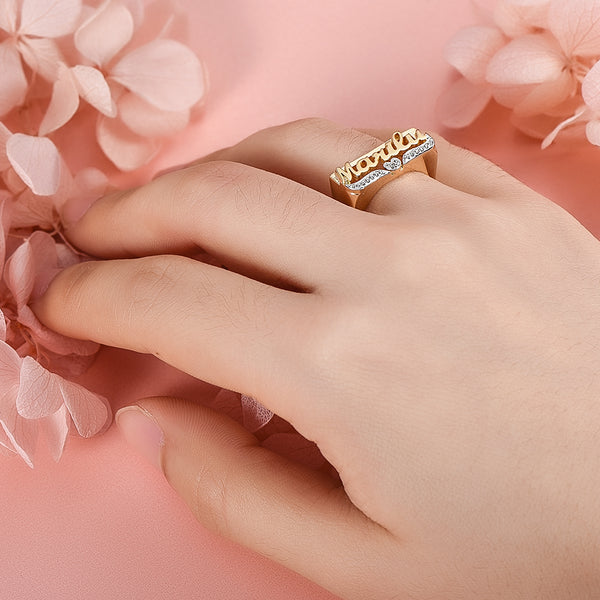 Two Tone with Heart 18K Gold Plated Personalized Name Ring