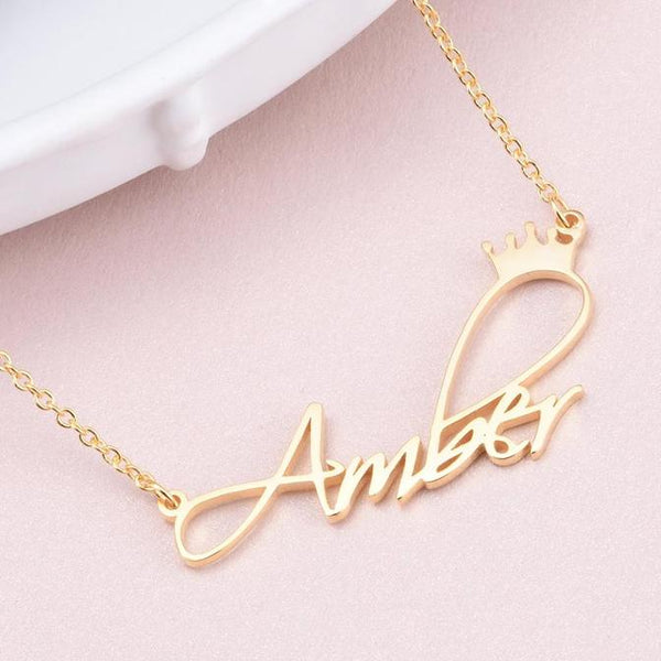 18K Gold Plated Personalized Princess Crown Name Necklace - Silviax