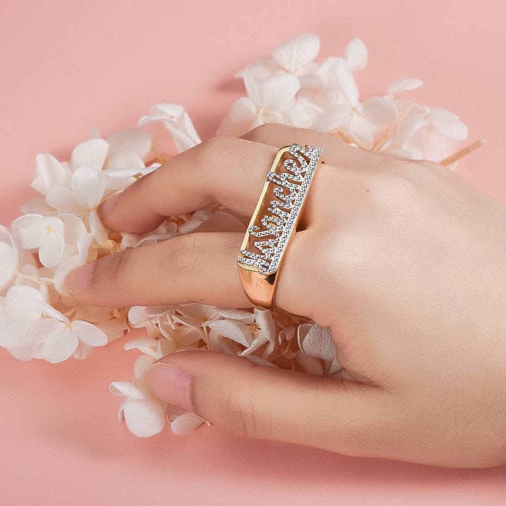 Gold Plated Personalized Carved Two Finger Name Ring