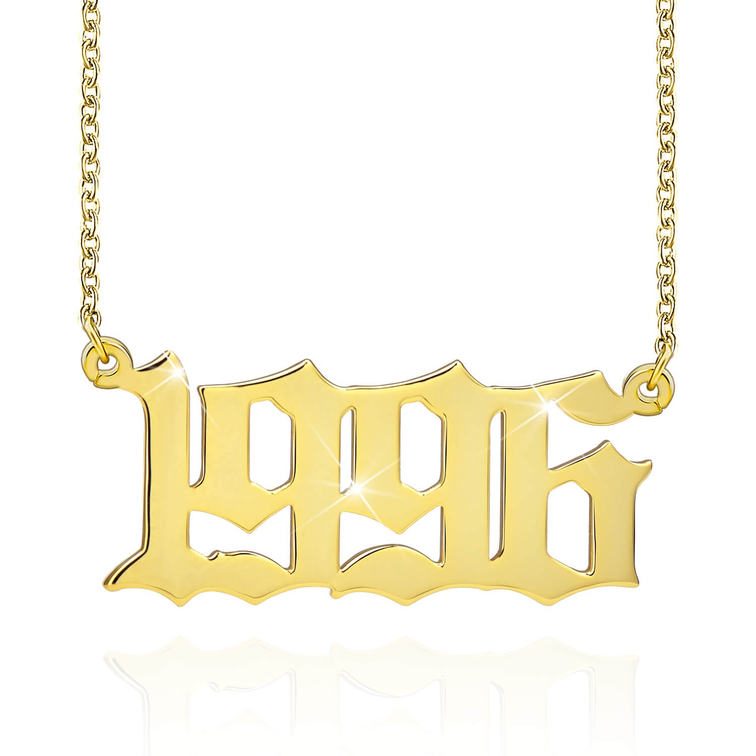 18K Gold Plated Personalized Birth Year Number Necklace