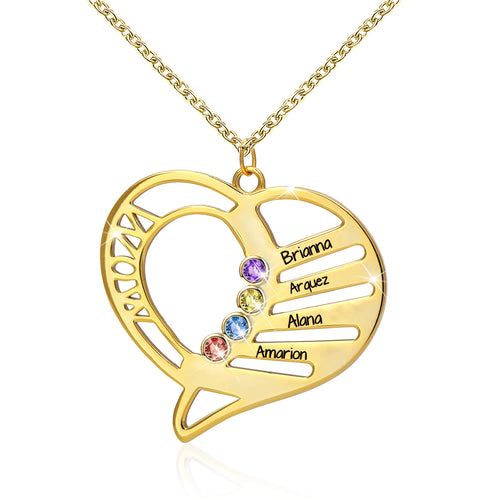 Family Heart Necklace In Gold Plating With Birthstones