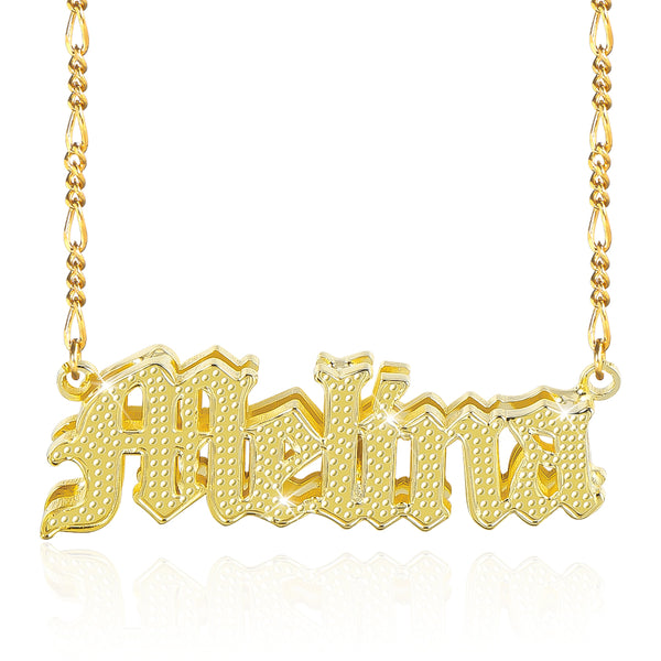 3D Double Plated Gothic Font 18K Gold Plated Personalized Name Necklace
