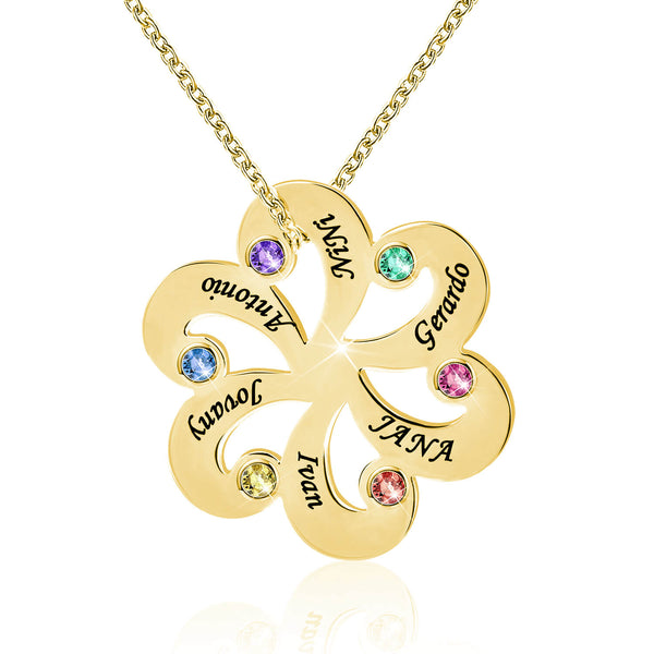 1-6 Birthstone Flower Shaped Family Necklace 18K Gold Plated