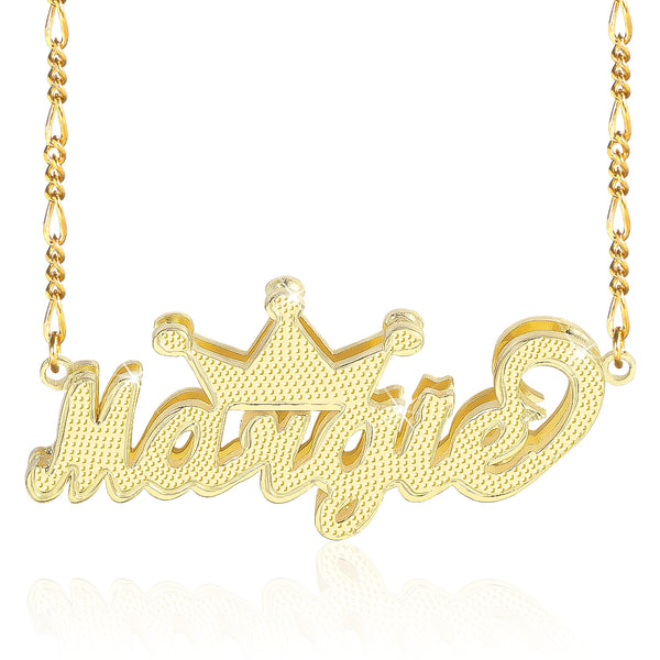 3D Double Plate with Crown 18K Gold Plated Personalized Name Necklace