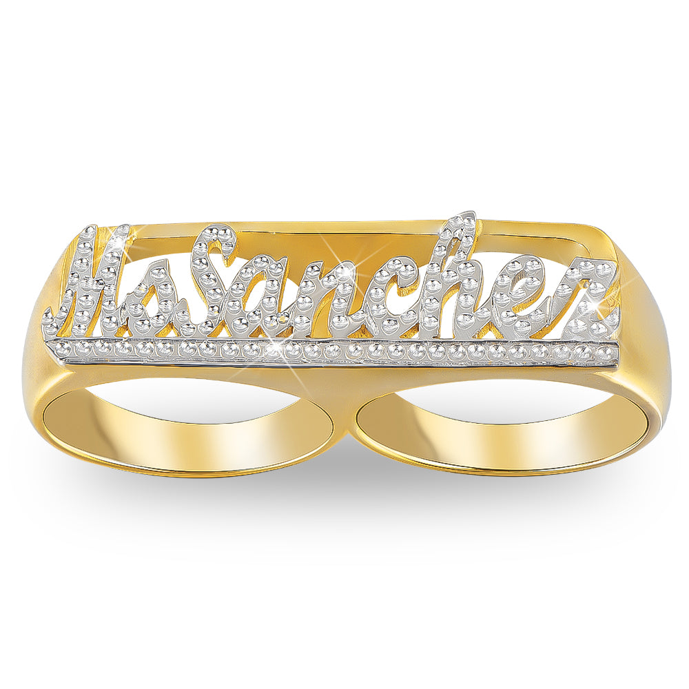 18K Gold Plated Personalized Carved Double Finger Name Ring