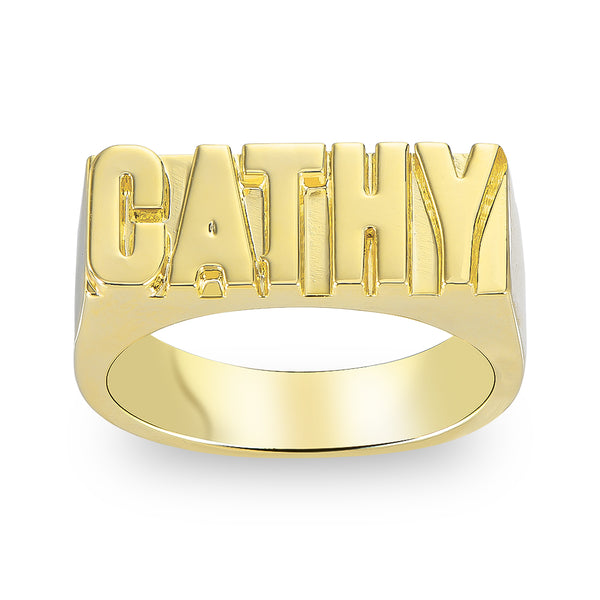 18k Gold Plated Custom Capital letters Name Ring