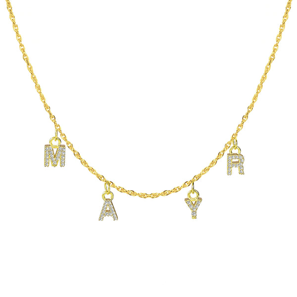 Crystal Hanging Letters 18K Gold Plated Custom Name Necklace
