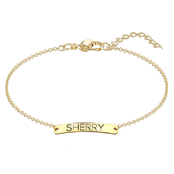 18K Gold Plated Personalized Name Bar Bracelet