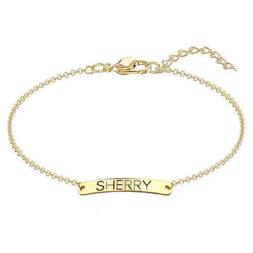 18K Gold Plated Personalized Name Bar Anklet
