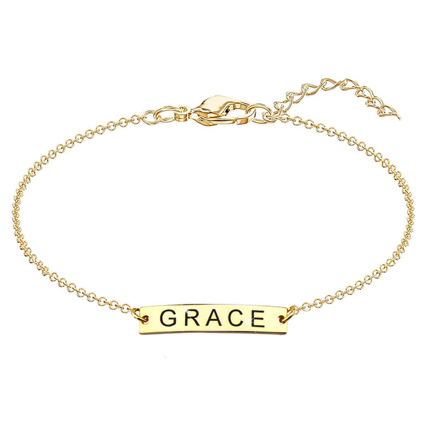 Tiny Name Bar Bracelet 18K Gold Plated