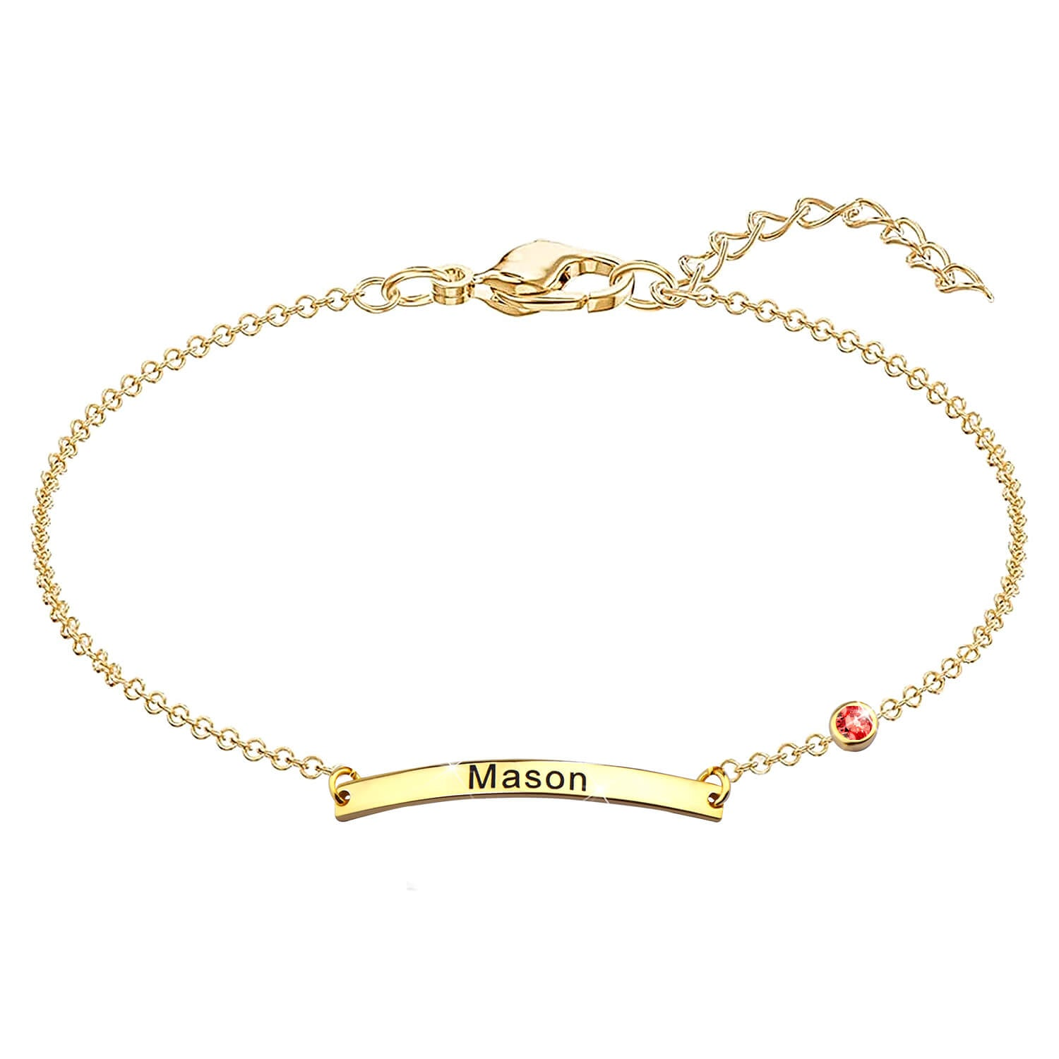 Name Bracelet with Birthstone 18K Gold Plated