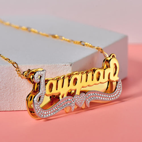 Double Layer 18K Gold Plated Personalized Two Tone Name Necklace with Heart