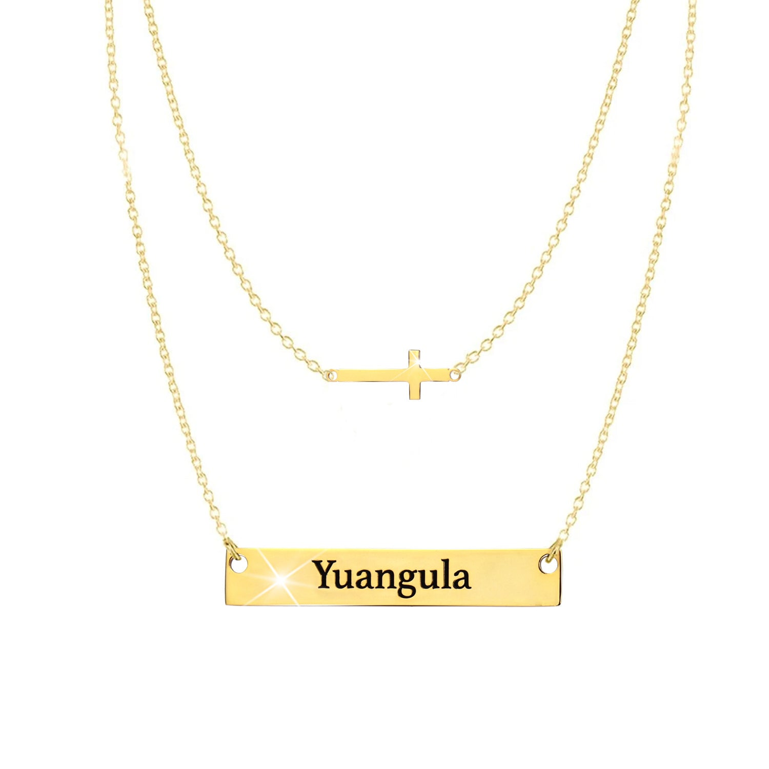 18K Gold Plated Cross Engraved Name Bar Necklace