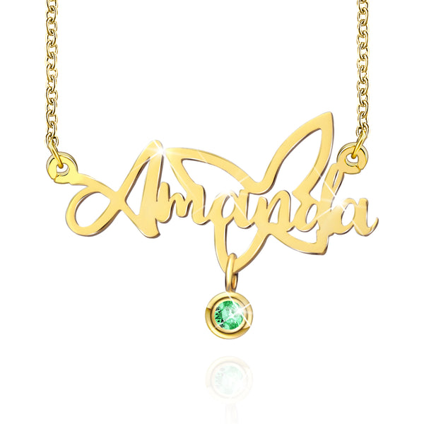 18K Gold Plated Personalized Butterfly Name Necklace With Birthstone