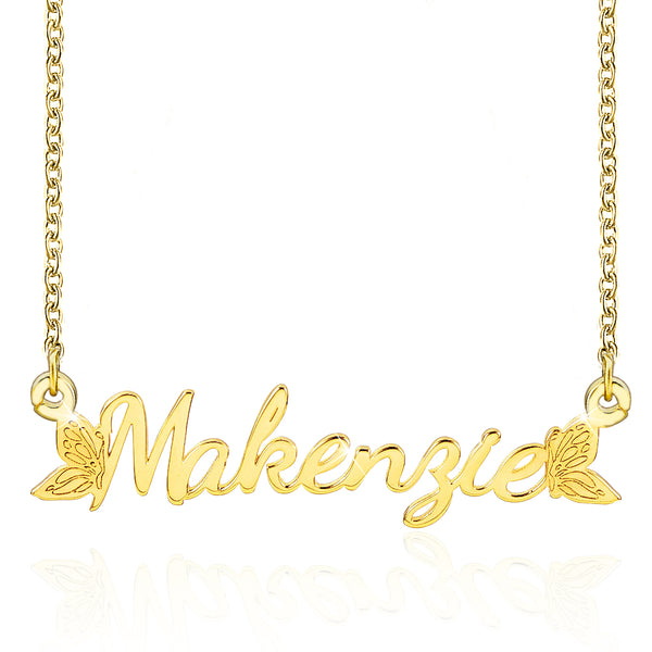 Butterfly wing 18K Gold Plated Custom Name Necklace
