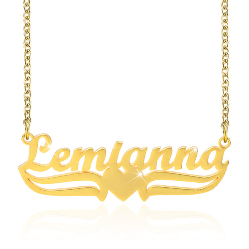 18K Gold Plated Personalized Name Necklace with Heart