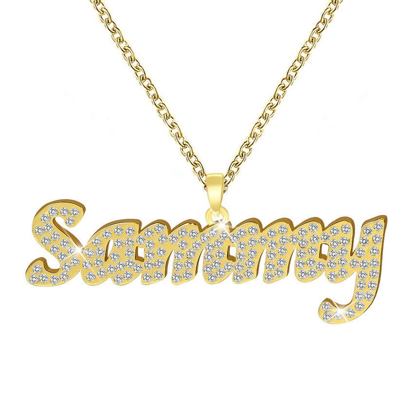 18K Gold Plated Personalized Diamonds Name Necklace