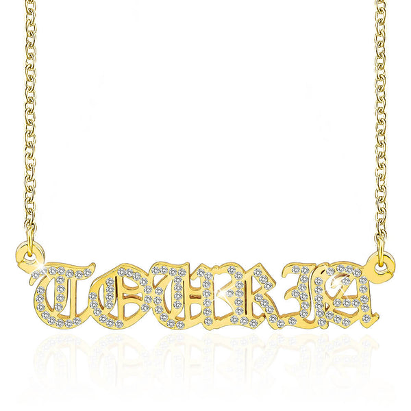18k Gold Plated Vintage Crystal zircon Old English Name Necklace