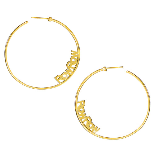 18K Gold Plated Customized Hoop Name Earrings