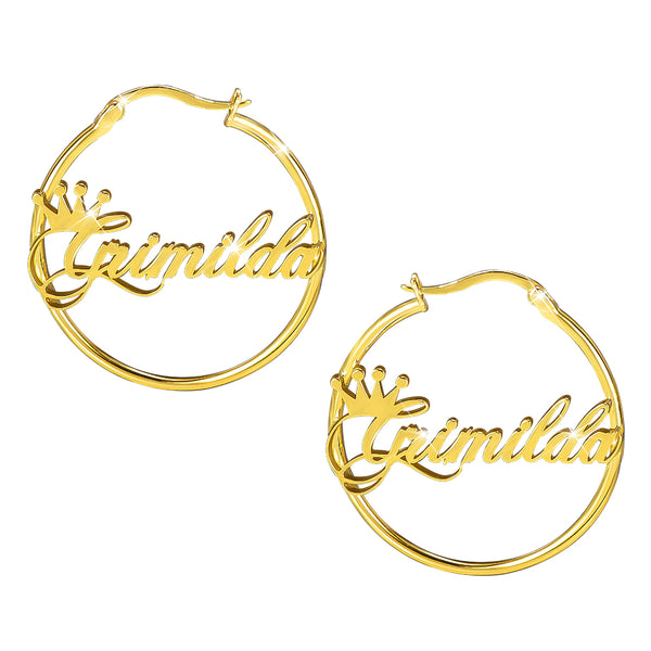 18k Gold Plated Crown Hoop Personalized Name Earrings