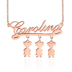 18K Gold Mother Necklace with three Kids Name Family Necklace