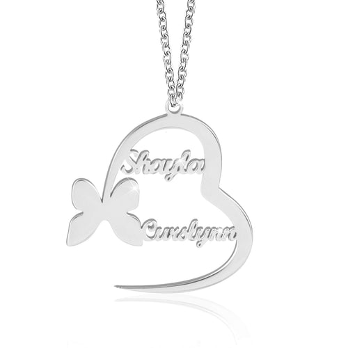 18K Gold Plated  Personalized Customized Heart and Butterfly Couple Name Necklace