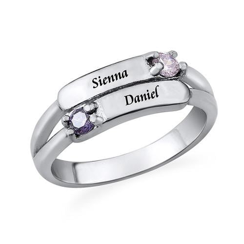 Double Birthstone Ring with Name
