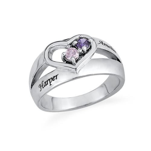 Silver Dual Birthstone Heart Ring with name