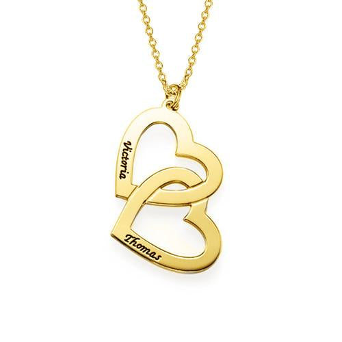 18k Gold Plated 2 Name Necklace With Two hearts - Silviax