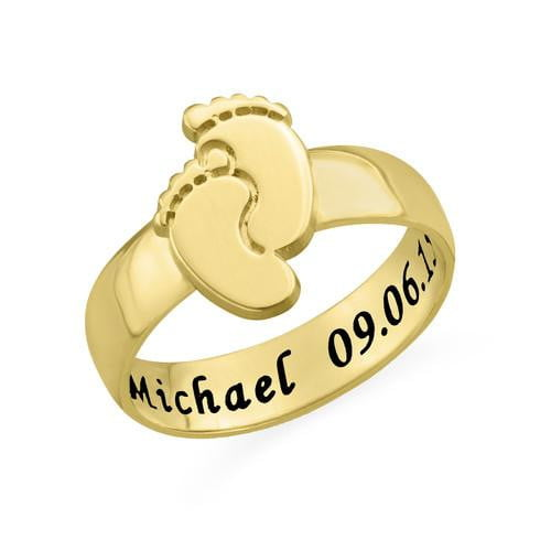 18K gold Engraved Baby Feet Ring