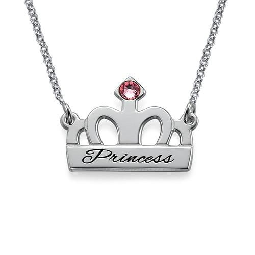 Engraved Name Diamond Couples Necklace Silver