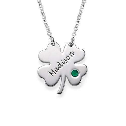 Silver Four Leaf Clover Name Necklace With Birthstone