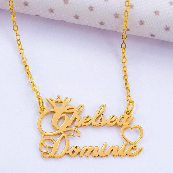 Crown 2 Name Heart 18K Gold Plated Personalized Name Necklace