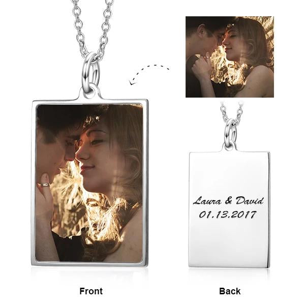 Stainless Steel/Copper Personalized Rectangle Color Photo Necklace