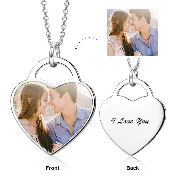 Custom Heart Color Photo Necklace Personalized Jewelry