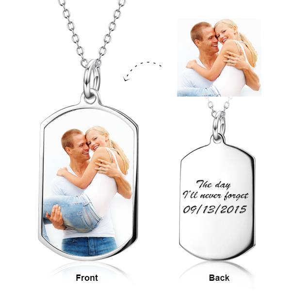 Custom Color Photo Necklace Personalized Jewelry Stainless Steel