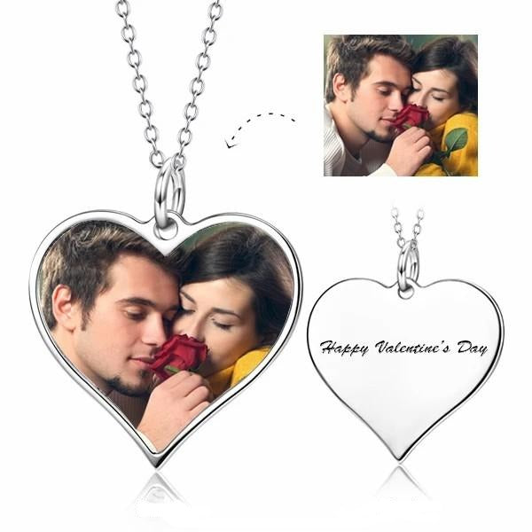 Stainless Steel Engraving Personalized Heart Photo Necklace For Women's